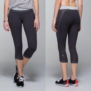 lululemon athletica Pants - Lululemon Athletica Chase Me Crop II Grey/Green